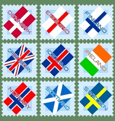 Stamps with flags vector image