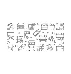 street food festival linear horizontal vector image