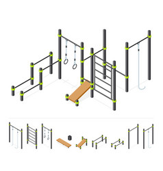Street workout area outdoor athletic gym vector