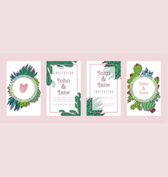 succulents invitation cacti green plants vector image