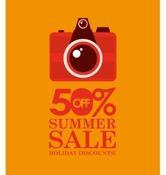 Summer sale 50 discounts with photo camera vector