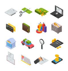 taxes icon set isometric style vector image