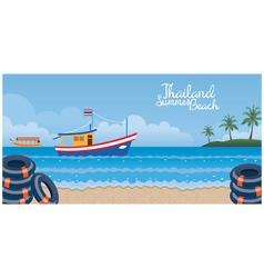 Thailand Summer Beach with Swim Ring Boat Island vector