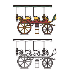 three seats stagecoach or xix century steam car vector image