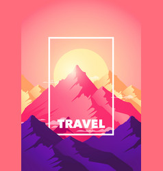 travel adventure climb to the top of the mountain vector image
