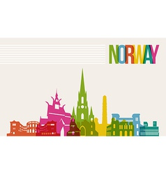 Travel Norway destination landmarks skyline vector image