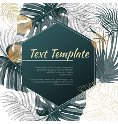 Tropical plants design template with frame vector