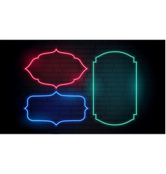 vintage style classic neon frames set vector image