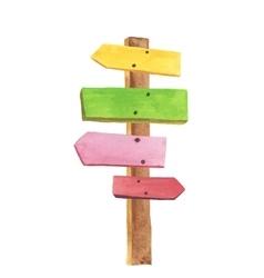 Watercolor wooden signpost vector