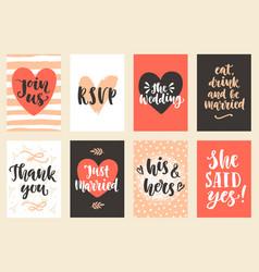Wedding invitations cards set vector