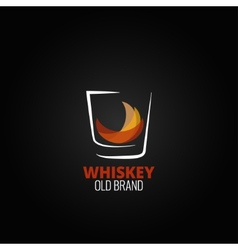 Whiskey glass splash design background vector
