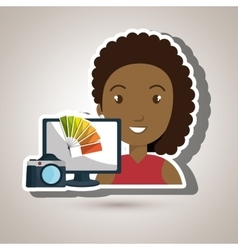 Woman laptop camera paint color vector