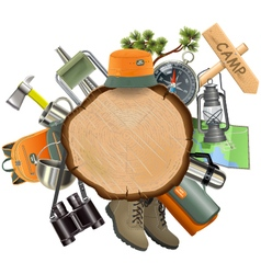 Wooden Board with Camping Accessories vector image vector image