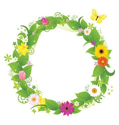 Wreath From Flowers And Leaves vector