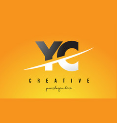 yc y c letter modern logo design with yellow vector image