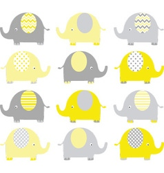 Yellow and Grey Cute Elephant set vector image
