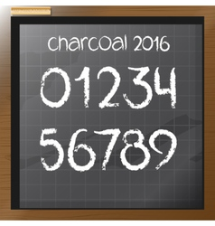 Digital charcoal hand drawn numbers vector image