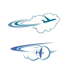Flying airplanes in sky vector image vector image