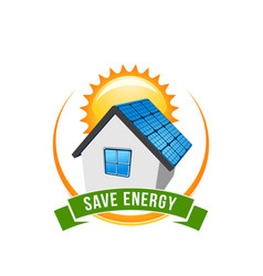 green energy save solar house icon vector image vector image
