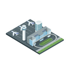 Modern airport construction in isometry vector