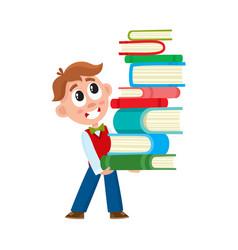 school boy holding huge stack pile of books vector image