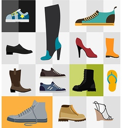 Set of flat footware icons vector image