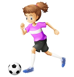 A lady playing soccer vector image