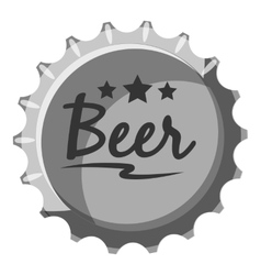 Beer bottle cap icon gray monochrome style vector image