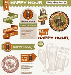 beer happy hour design elements vector image