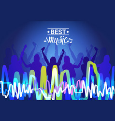 best music silhouette people dancing live concert vector image