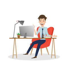 business man working on computer at office desk vector image vector image