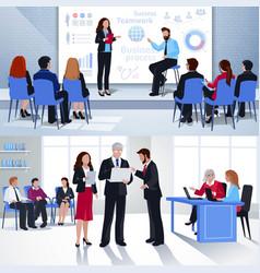 coaching horizontal flat banners vector image vector image