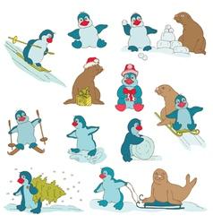 Penguins - Christmas Set vector image