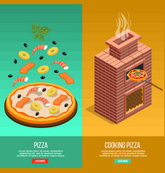 pizza baking banner set vector image vector image