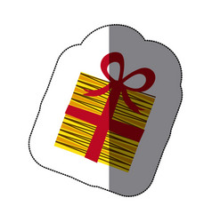 sticker colorful striped gift box with ribbon vector image