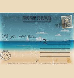 Vintage summer vacation postcard vector image vector image
