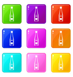 Bottle of ketchup icons 9 set vector