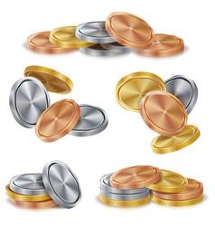 gold silver bronze copper coins stacks vector image vector image