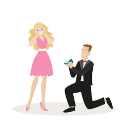 guy with the ring on his knee makes a proposal to vector image vector image