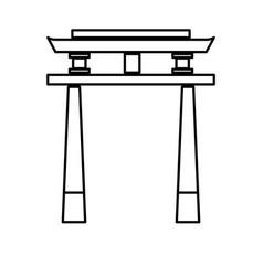 japan gate torii architecture landmark outline vector image