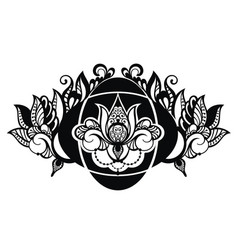 lotus floral in tattoo style vector image vector image