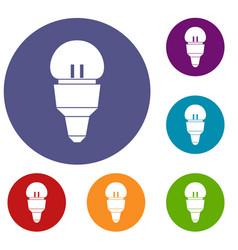 reflector bulb icons set vector image
