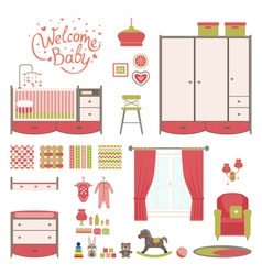 Set Baby room vector image