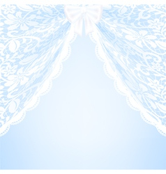 Blue bacground with lace curtains and bow vector image vector image