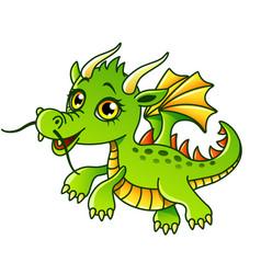 cartoon dragon isolated vector image