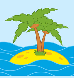 A bright picture with a cartoon palm tree on the vector