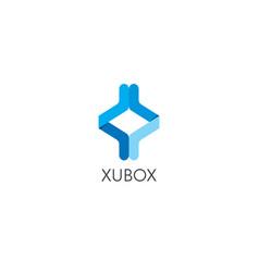 Abstract infinite geometric cube box arrow logo vector