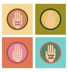assembly flat icons Stop AIDS symbol vector image