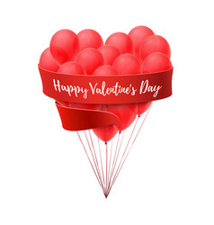 Ballons in form of heart with red ribbon vector