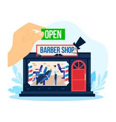 barbershop open barber shop vector image
